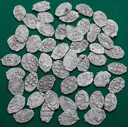Peter I 1682-1725 Lot 50 Coins Silver Kopek Scales Russian Coin №4