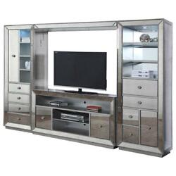 Best Master Jameson 4-piece Solid Wood Entertainment Center In Silver Antique