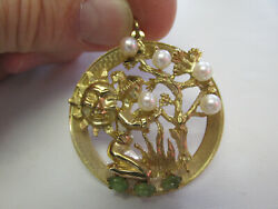 1950's Large Charm Or Pendant 14k Gold Asian Tree And Sun Pearls And Jade Make Offer