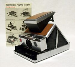 Vintage 1975 Polaroid Land Camera Sx-70 Model 1 No Curl To Cover W/manual Minty