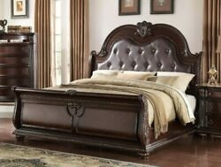 Formal Classic 1pc Queen Size Panel Bed Rich Brown Finish Bedroom Furniture