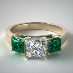 1.70 Carat Real Diamond Green Emerald Rings Solid 14k Yellow Gold Size 5 6 7 8 9