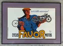 French 1930and039s Favor Motorcycle - Bicycle Poster Stone Lithograph By Bellinger