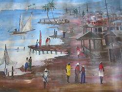 Vintage 24x29 Seascape Painting By Late Haitian Master Jacques Valbrun