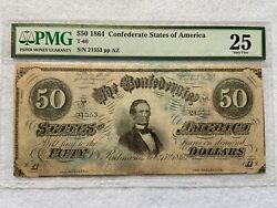 1864 Confederate States Of America 50 Fifty Dollar Bill Pmg Certified