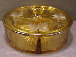 Rare Cambridge Amber Glass Etched Butterfly And Flower Candy Covered Divided Dish