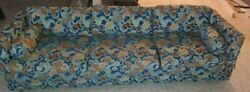 Vintage Henredon Fabric Sofa Long Couch Multi-colored With Wheels