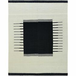 12and039x15and0391 Hand Woven Black Ethnic Design Flat Weave Kilim Reversible Rug G60302