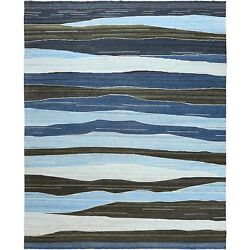 12and0395x15and039 Hand Woven Brown And Blue Mountain Design Flat Weave Kilim Rug G60105