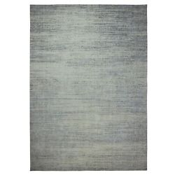 10and039x14and0392 Light Gray Jacquard Hand Loomed Modern Pure Wool Oriental Rug G62073