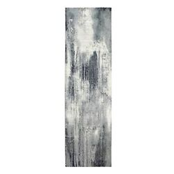 2and0396x10and039 Charcoal Black Abstract Design Woolsilk Handknotted Runner Rug G62071