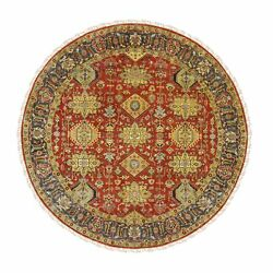 7and03910x7and03910 Round Red Karjihooz Design Wool Hand Knotted Oriental Rug G62129