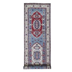 5and0393x19and0399 Wide And Long Runner Wool Kazak Tribal Design Hand Knotted Rug G66293