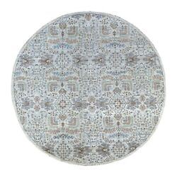 8and0391x8and0391 Peshawar Willow Tree Design Shiny Wool Round Hand Knotted Rug G67156