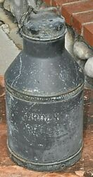 Rare Vintage Arden Farms Ca Dairy Milk Jug/can Pre 1930 Antq. Can W/lid And Chain