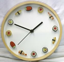 SUSHI CLOCK sashimi wall SMALL miniature round maple 8quot; glass novelty restaurant