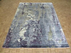 9 X 12'1 Hand Knotted Gray And Purple Modern Tibetan Oriental Rug With Silk G9108