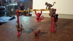 Marx Monkey Lot8 On Monkey Bars....jungle Daktari Circus Playset Plastic