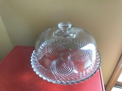"""Vintage Cut Glass 11"""" Cake Plate With Heavy Dome Cover On Pedestal Base Stand"""