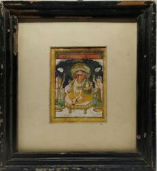 Antique Hindu Deity Ganesha Old Miniature Painting Framed With Glass 11 X 10