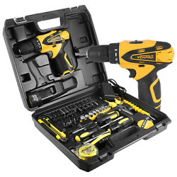 Vehpro 12v Cordless Power Drill Set And 28pcs Hand Tool Set Combo Kit With Case