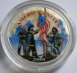 2001 American Silver Eagle 9/11 Heroes Colorized Coin Enhanced On Both Sides