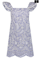 Alice + Olivia Honor Flutter Sleeve Tunic Dress Nwt Sz 2 Chambray Embroidered