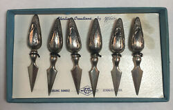 Set Of Six Webster Sterling Silver Corn Cobb Holders Original Box Excellent Cond