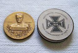 1914 Knights Templar Grand Commandery Of Ny Mullen And Clinton 100th Anniv Medal