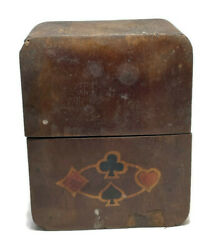 Antique Wood Inlay Playing Cards Holder