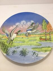 Vintage Handpainted Plate With Ducks Mid Flight From Germany Mid-century