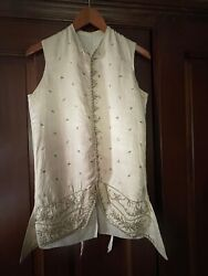 Antique C1750 French Men's W Embroidered Silk Front Waistcoat Incredible