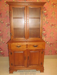 Tell City Full Glass China Hutch Hard Rock Andover Maple Smallest Width 36