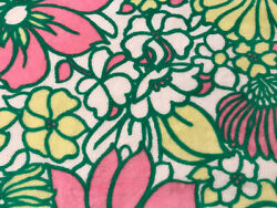 Mid Mod Big Floral Pink Green Hippie Thick Terry Cloth Fabric Fabric 2 yds 60quot;
