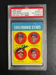 Pete Rose 1963 Topps 537 Signed Rookie Rc Hit King Psa/dna