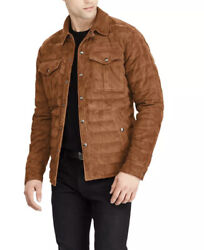 1198 Polo Xl Brown Quilted Leather Suede Down Jacket Rrl Rugby