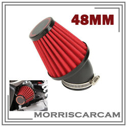 Red 48mm Air Intake Filter Cleaner Pod 45 Degree Bend For Motorcycle Scooter Atv