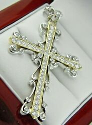 Large Cross Pendant With Natural Diamond In 18k Solid Gold 1.90 Ct. T.w.
