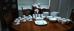 90 Pc Mikasa Continental, F3003 Silk Flowers, White And Pink, 1980 Vintage Floral