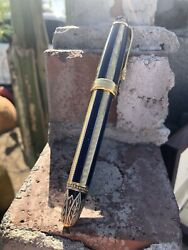 Michel Perchin Blue And Gold Ribbed Limited Edition Ballpoint Pen