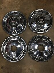 1967-1972 Gmc K10 K20 Suburban Jimmy 4x4 Hubcaps With 16.5 Trim Ring Adapters