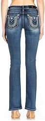 Miss Me Women's Mid-rise Boot Jeans With Horseshoe Embroidery And Embellis