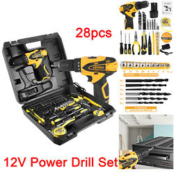 Vehpro 12v Cordless Power Drill Set And 28pcs Hand Tool Set Combo Kit With Case.