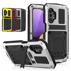 Shockproof For Galaxy A32 5g/4g Metal Tempered Glass Screen Protector Stand Case