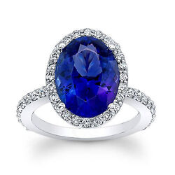 Blue Sapphire 4.13ct Real Diamond Ring White Gold Silver Band Size 4 5 6 7 8 Npo