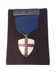 Vtg Protestant Boy Scout God And Country Award Medal Church Badge W/ Provenance