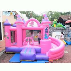 Kids Inflatable Bounce Castle Vinyl Jump Castle With Slide Combo Include Blower
