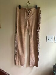 Blue Label Women Genuine Leather Bootcut Pants W Lace Lace Up Fly 6