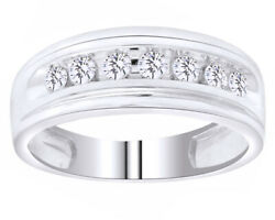 Menand039s 10k White Gold Over One Row Simulated Wedding Band Ring 0.50ct 7mm