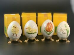 Goebel Annual Easter Egg On Stand Lot 1978 1979 1984 1985 Chick Duck Tulip Lily